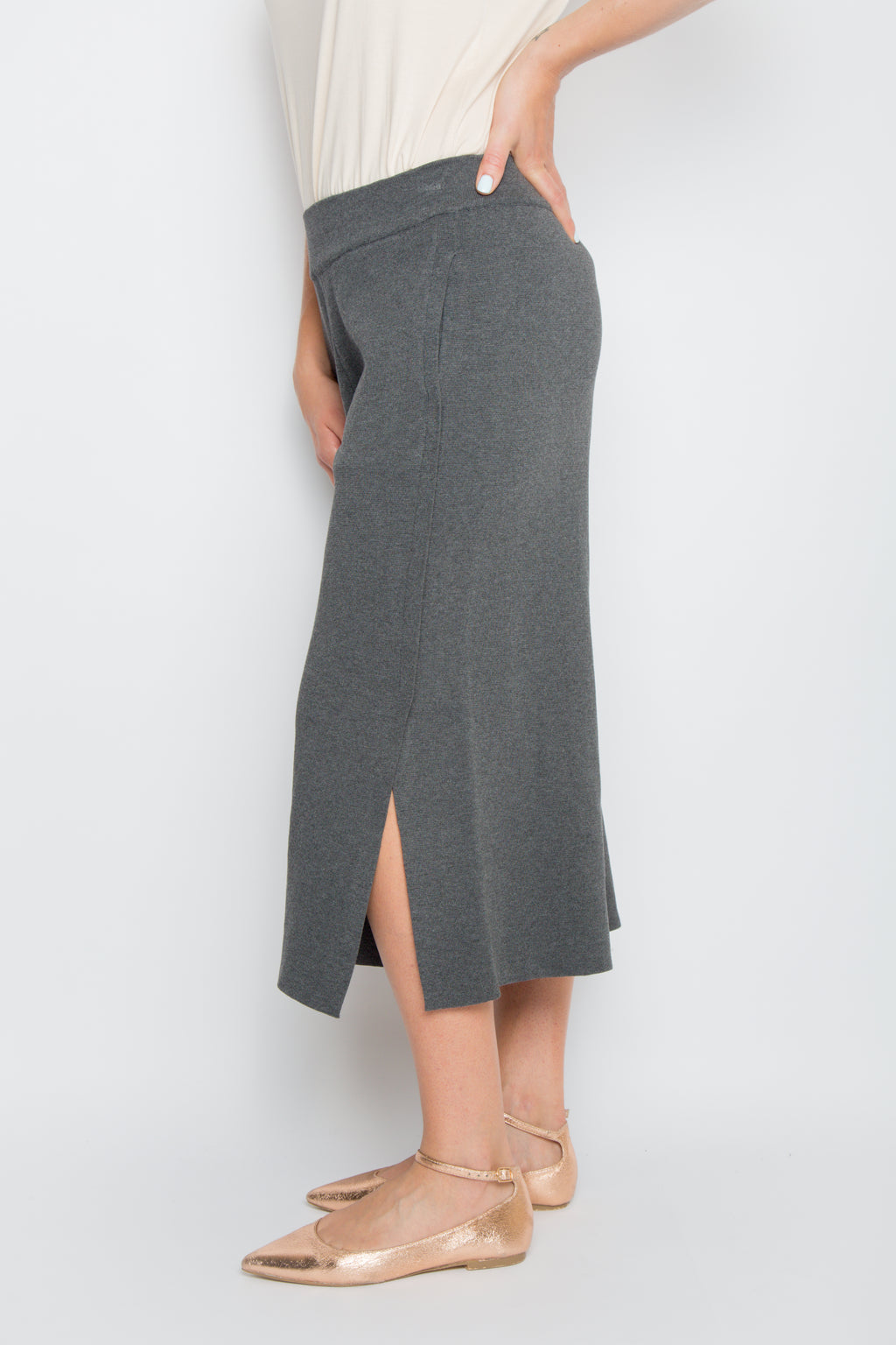 Classic Knit Culotte in Charcoal
