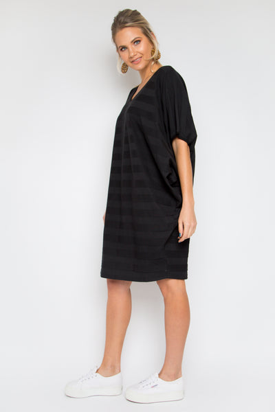 Luxe Stripe Miracle Dress in Black Cotton