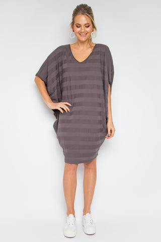 Luxe Stripe Miracle Dress in Slate Cotton