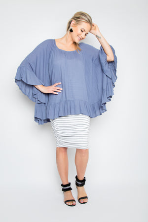 Ruche Skirt in Grey Marle and White Stripe