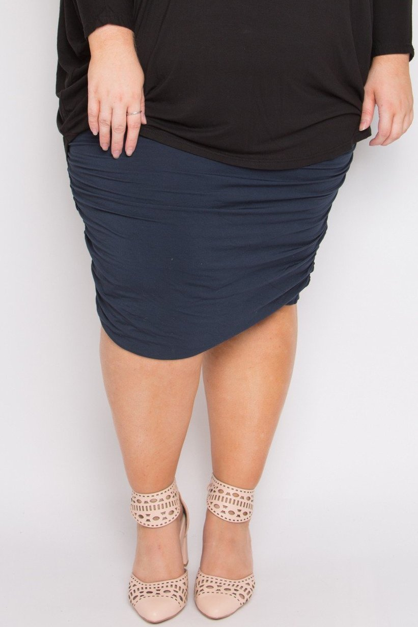 Curve Bamboo Ruche Skirt in Midnight