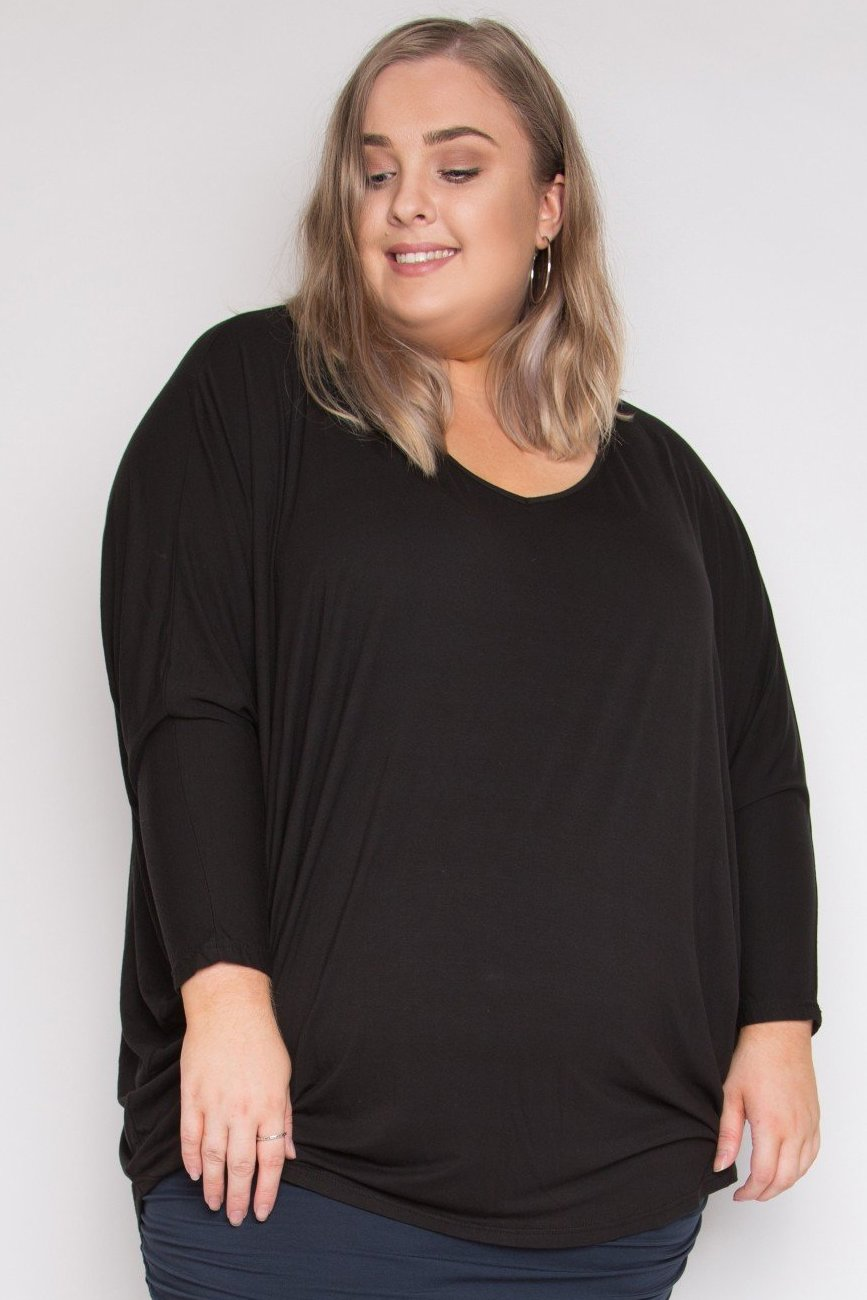 Curve Bamboo Long Sleeve Hi-Low Miracle Top in Black
