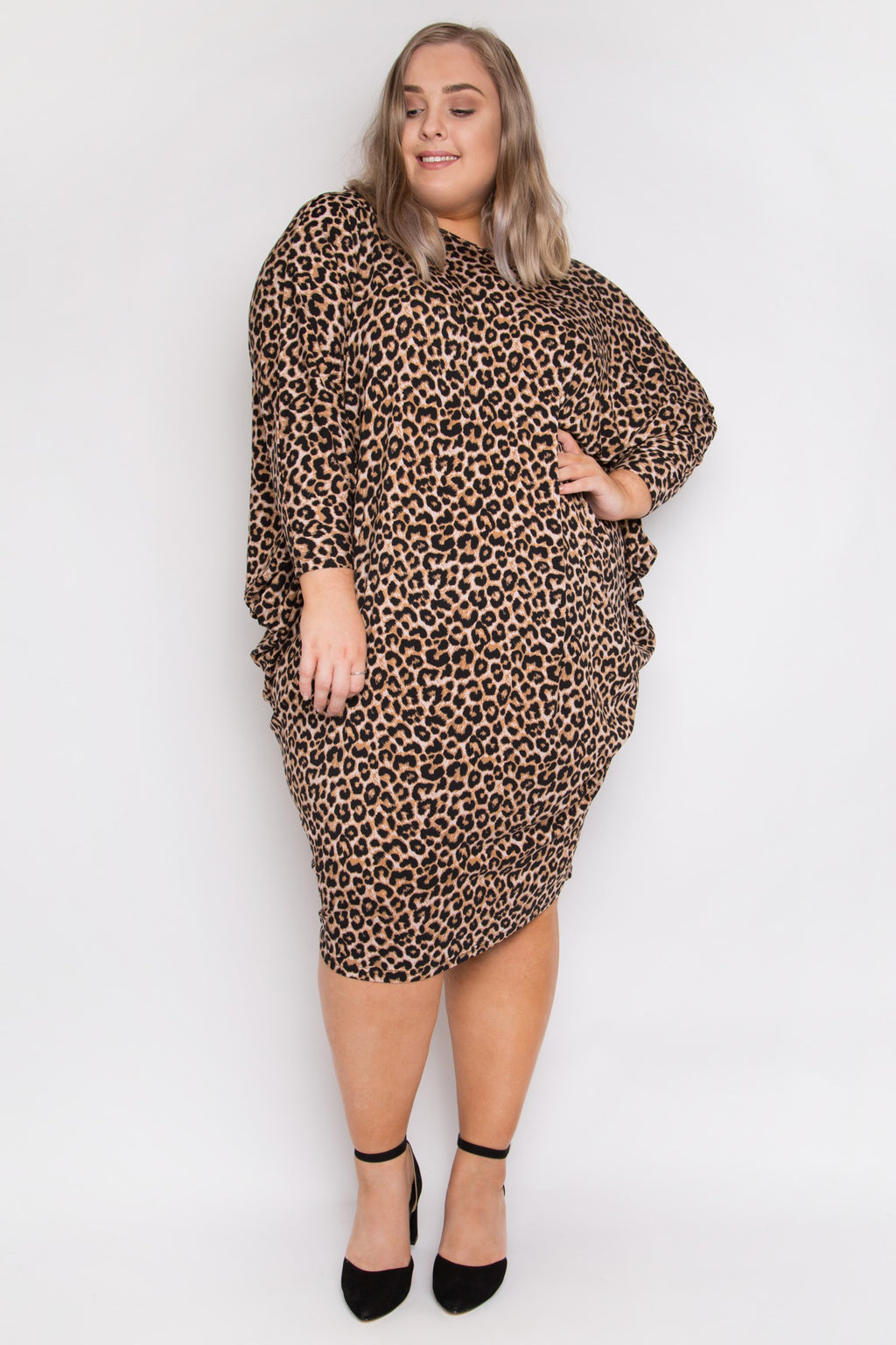Curve Long Sleeve Miracle Dress in Ginger Leopard