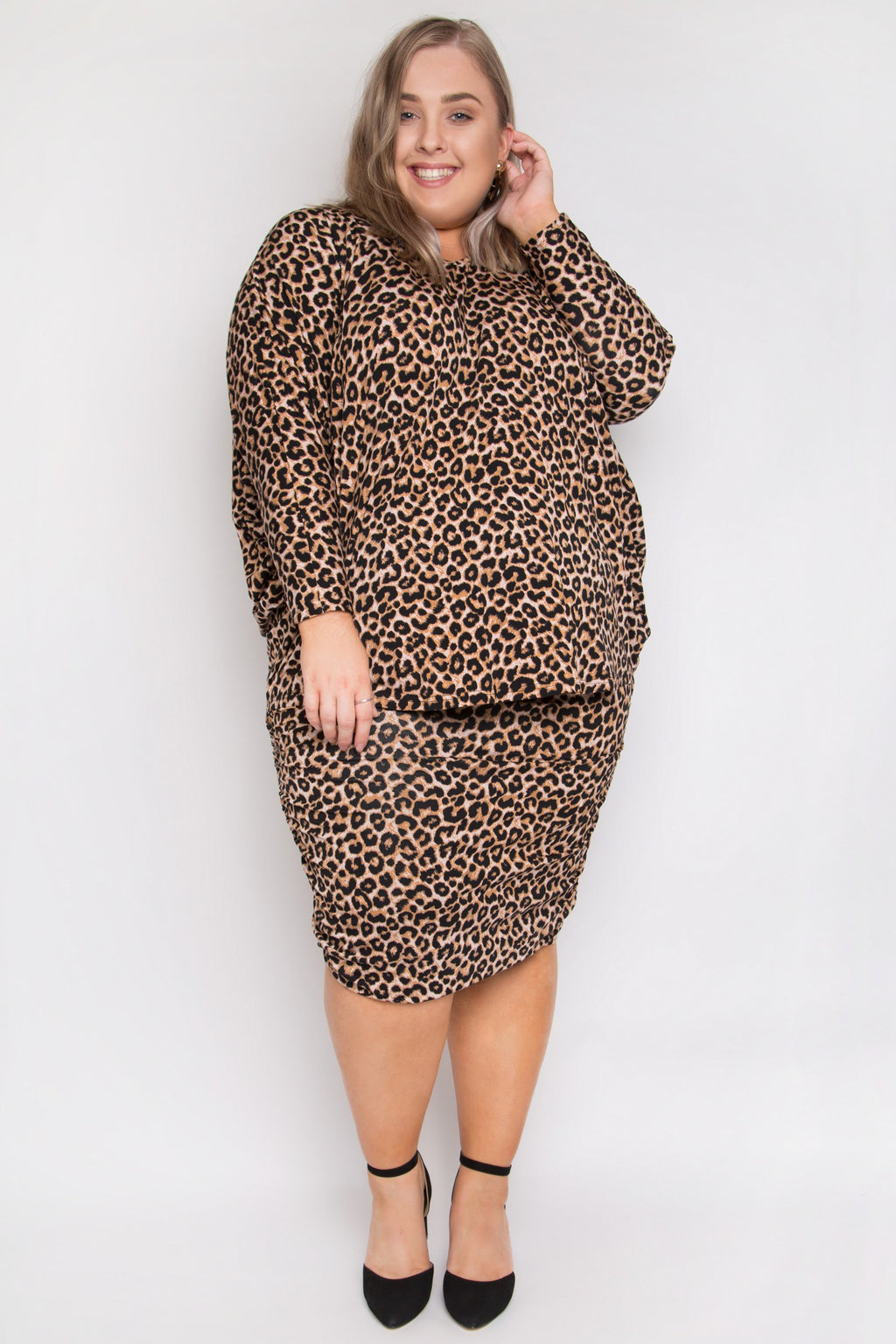 Curve Ruche Skirt in Ginger Leopard