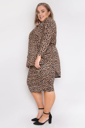 Curve Long Sleeve Hi-Low Miracle Top in Ginger Leopard