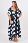 Short Sleeve Peak Maxi Dress in Sugar Cube