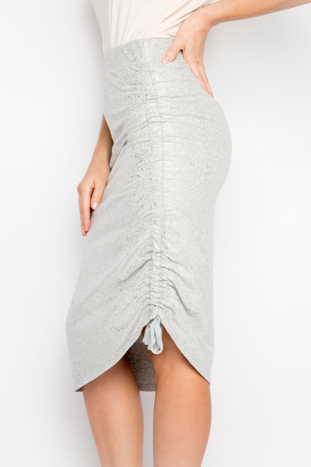 Drawstring Skirt in Metallic Marle Grey