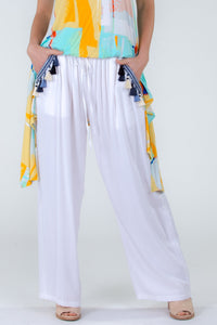 Tassel Beach Pant in White