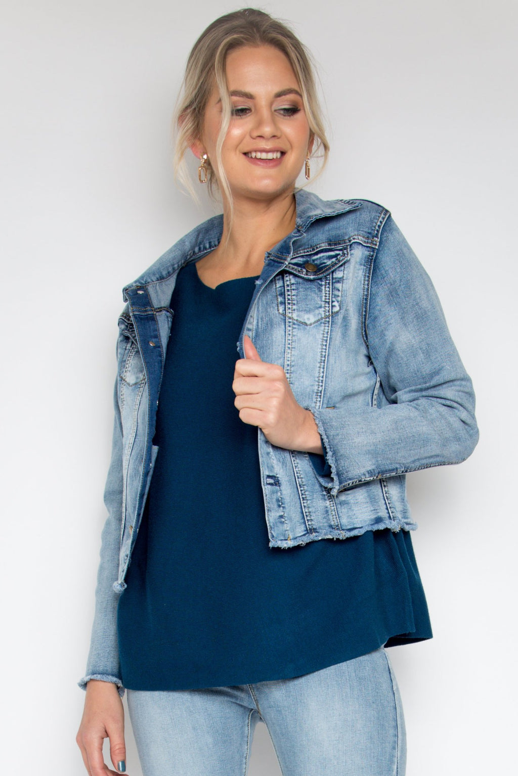Frayed Denim Jacket in Light Blue