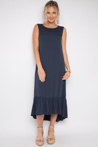 Flute Dress in Navy