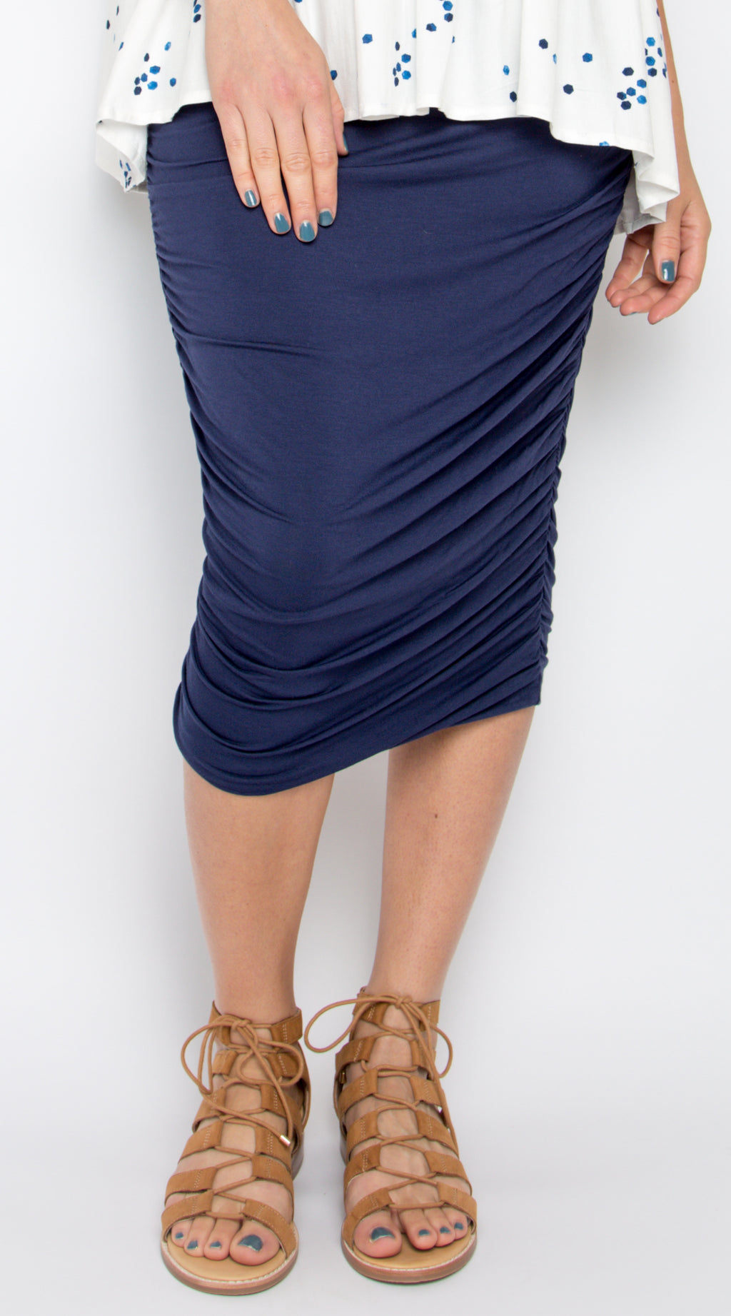 Midi Ruche Skirt in Navy