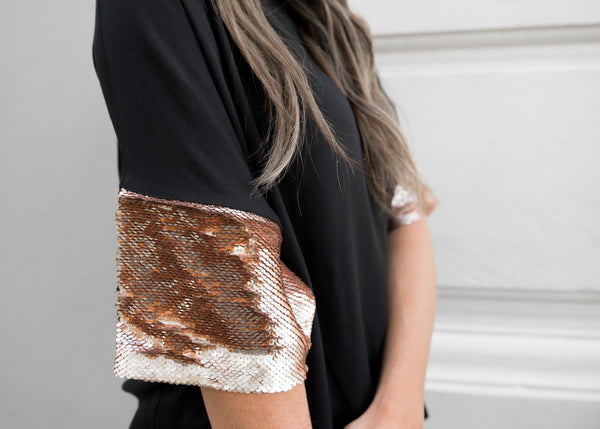 A Cute Dress with Sequin Sleeves in Black/ Rose Gold