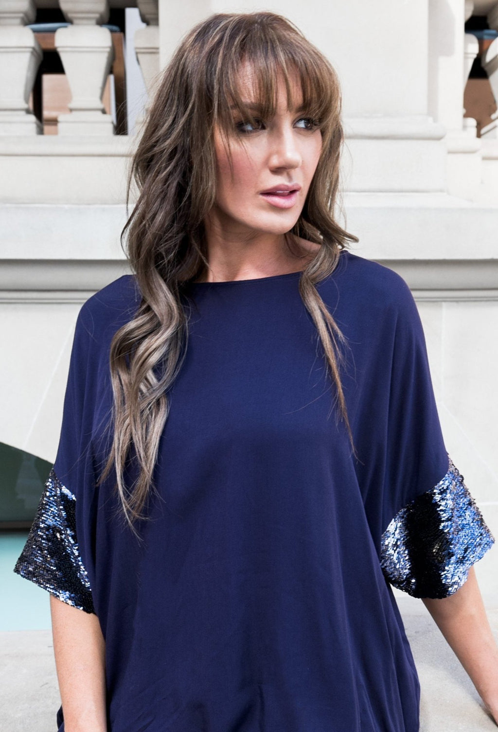 A Nice Dress with Sequin Sleeves in Indigo/Gold