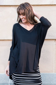 Bamboo Long Sleeve Hi-Low Miracle Top in Black (inc. CURVE)