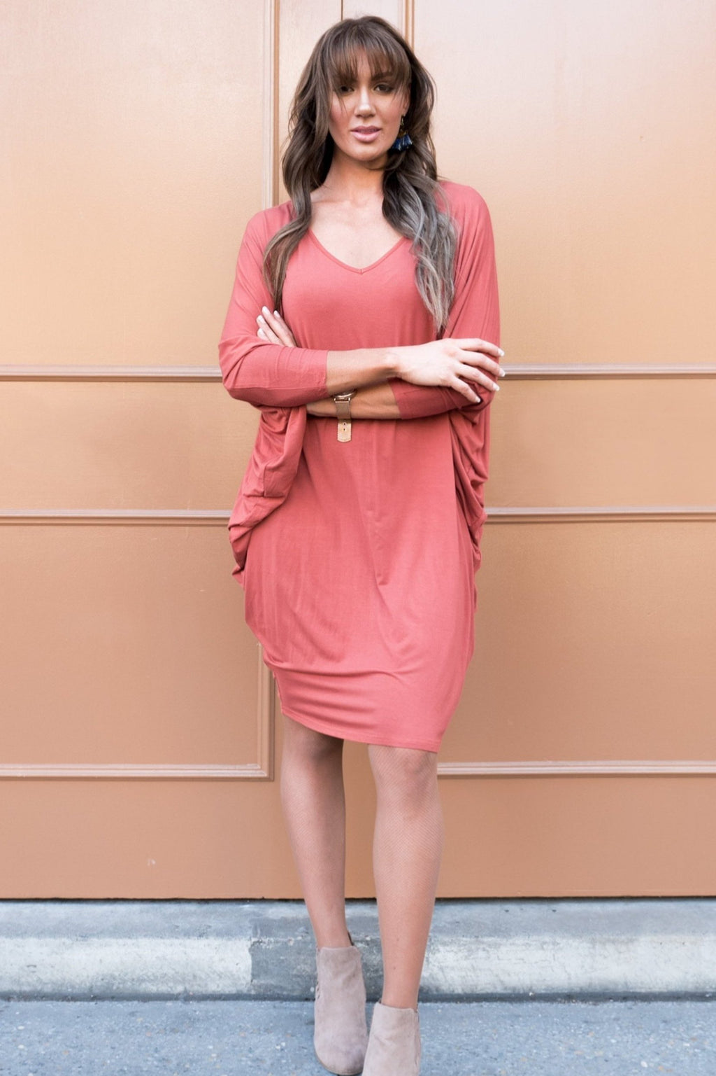Bamboo Long Sleeve Miracle Dress in Cayenne