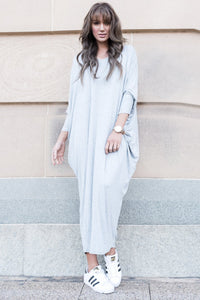 Bamboo Long Sleeve Maxi Miracle Dress in Marle Grey