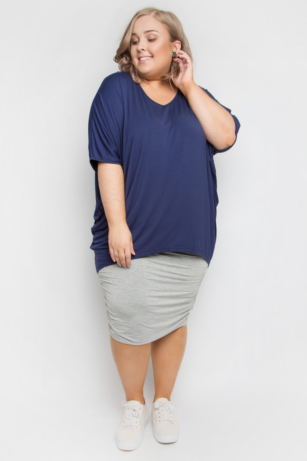 Curve Bamboo Ruche Skirt in Marle Grey