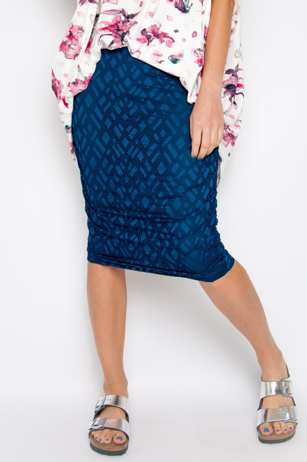 Mesh Ruche Skirt in Teal Geo