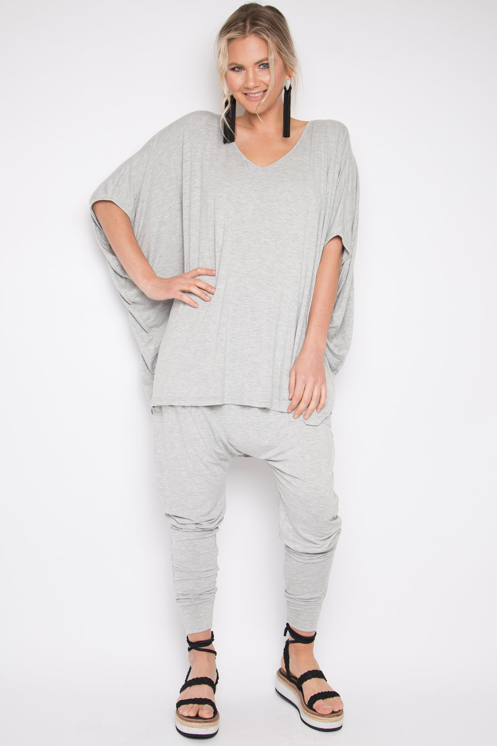 Hi Low Miracle Top in Marle Grey