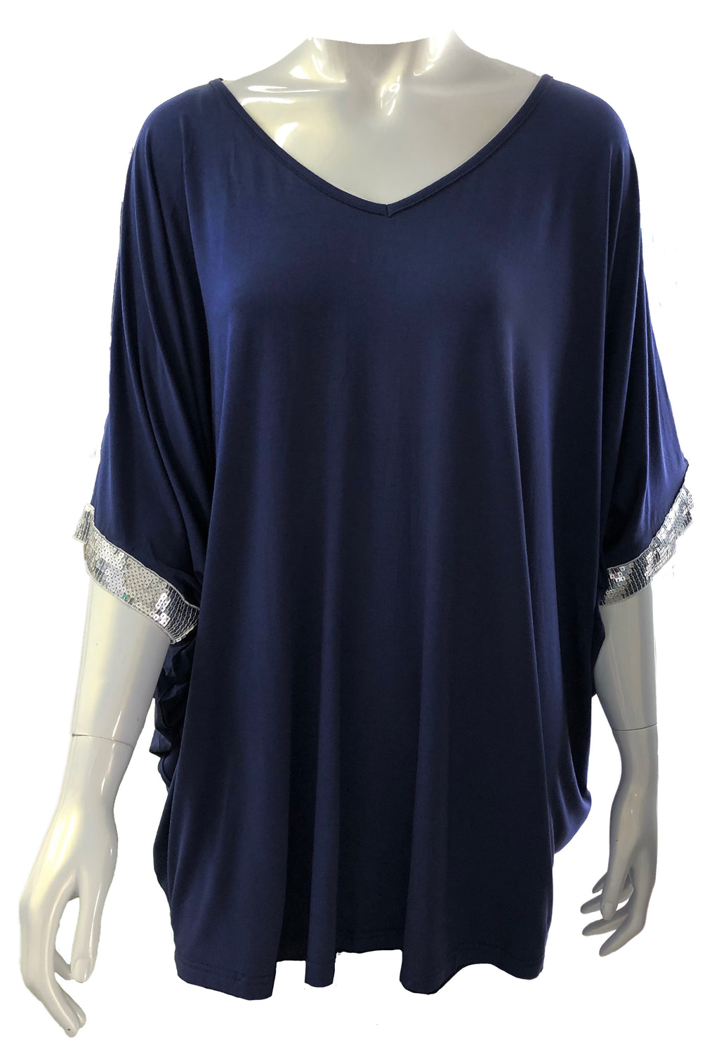Sequinned Hi Low Miracle Top in Navy