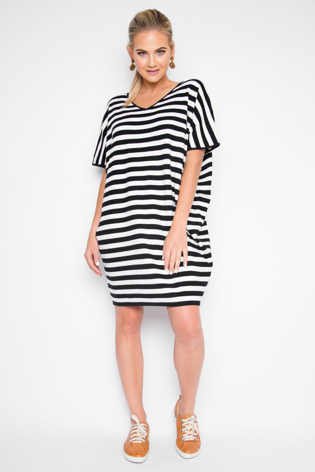 Little Knit Miracle Dress in Neutral Stripe