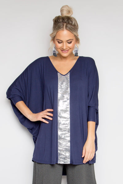 Sequinned Bamboo Long Sleeve Hi Low Miracle Top in Navy/Silver