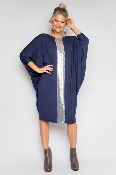 Sequinned Bamboo Long Sleeve Miracle Dress in Navy/Silver