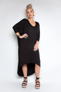 Bamboo Long Sleeve Scoop Maxi Dress in Black