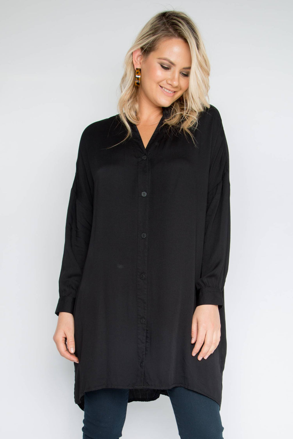 Long Sleeve Button Tunic in Black