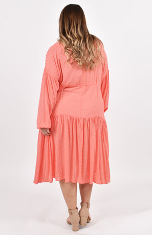 Long Sleeve Drawstring Dress in Watermelon Dot