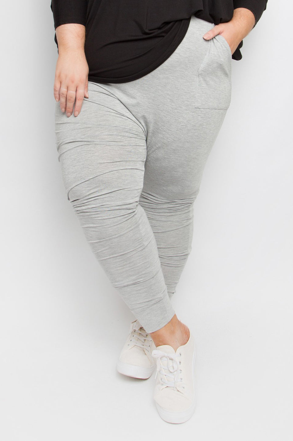 Curve Bamboo Cuffed Droppy Pant in Marle Grey