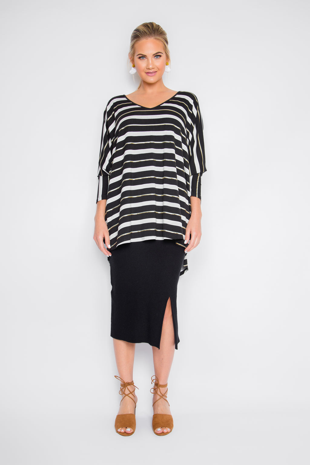 Split Midi Knit Skirt in Black