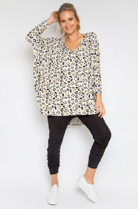 Long Sleeve Hi-Low Miracle Top in Desert Leopard