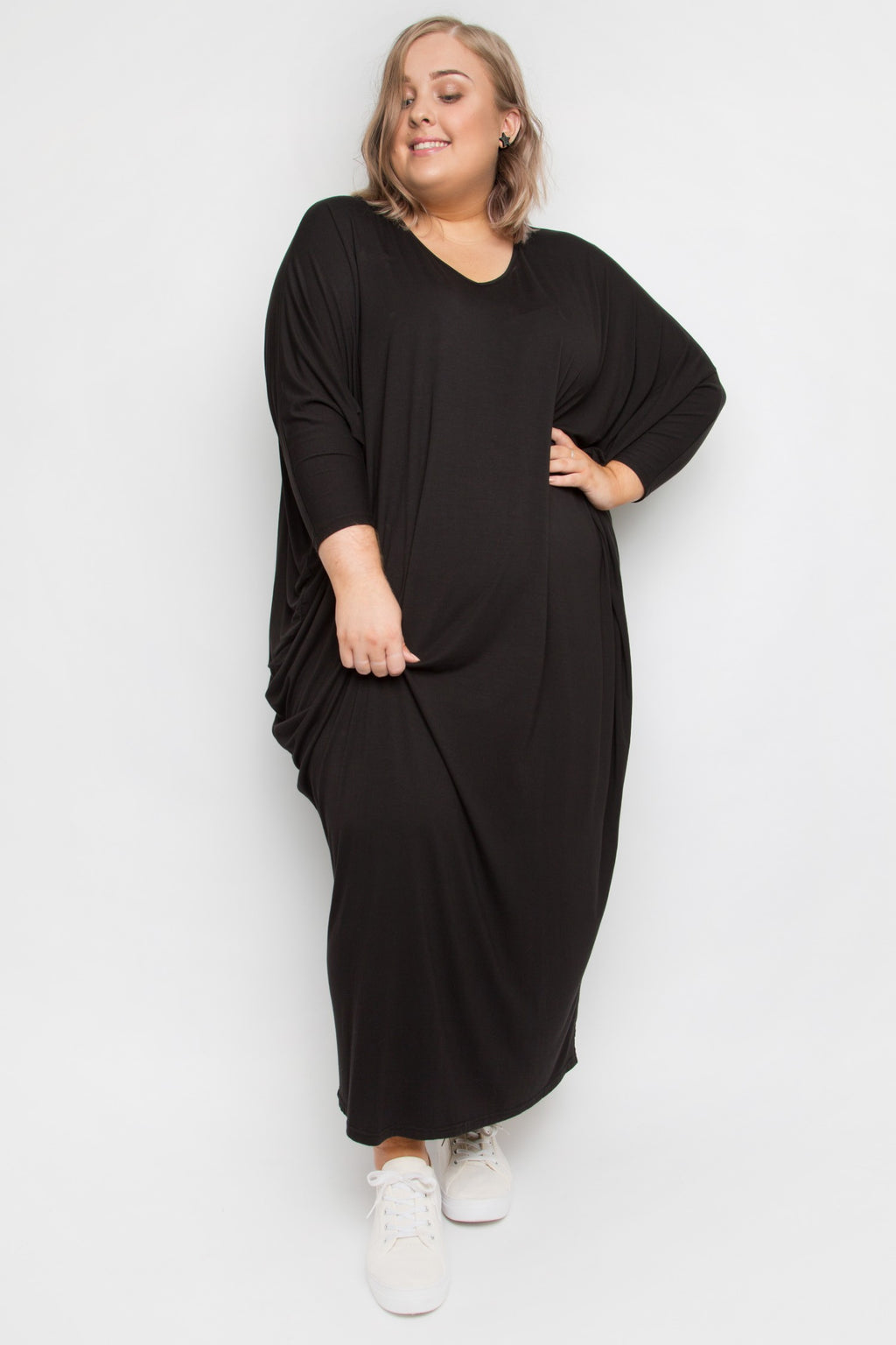 Curve Bamboo Long Sleeve Maxi Miracle Dress in Black