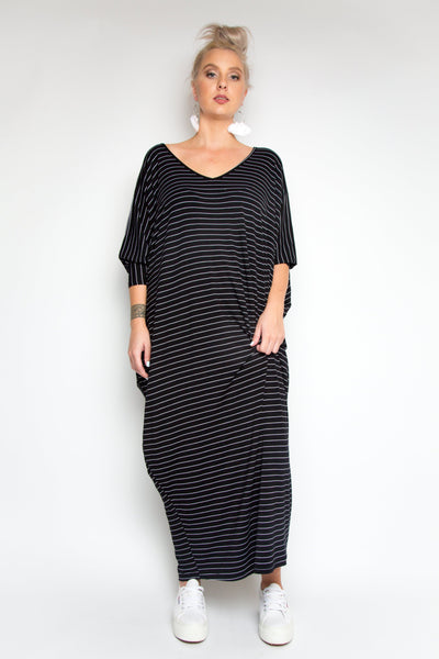 Long Sleeve Maxi Miracle Dress in Black Pinstripe