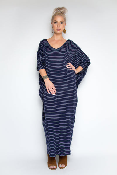 Long Sleeve Maxi Miracle Dress in Navy Pinstripe