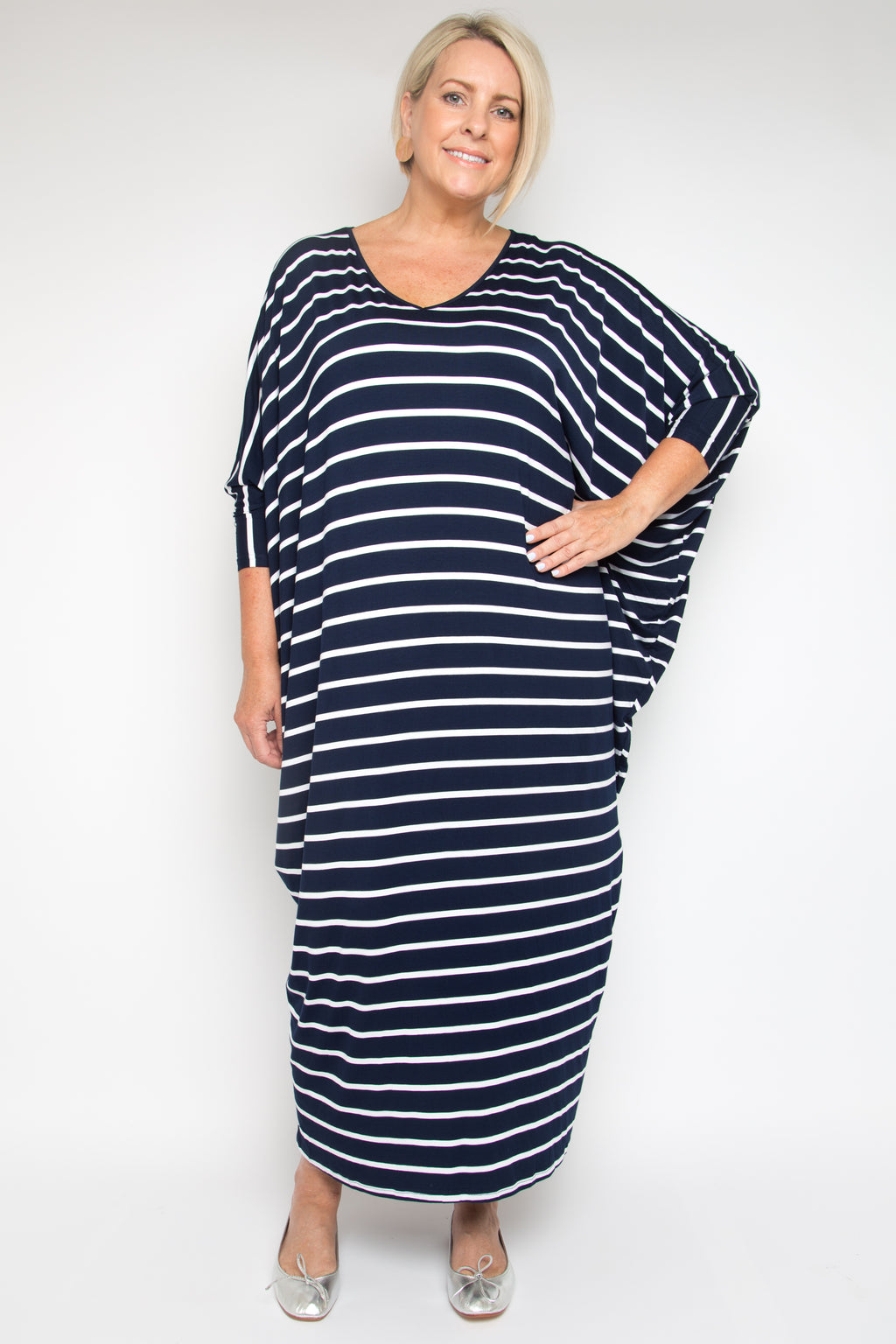 Curve Long Sleeve Maxi Miracle Dress in Navy and White Stripe