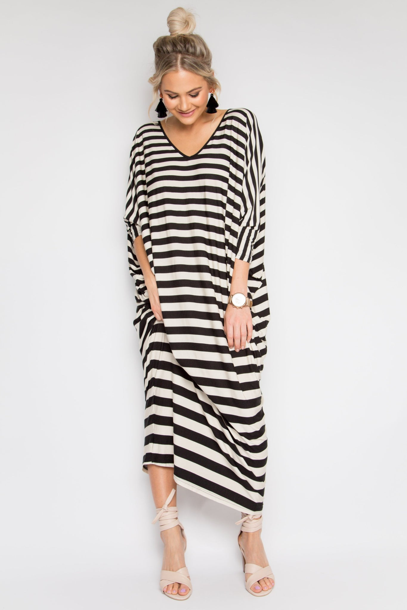 PREORDER Long Sleeve Maxi Miracle Dress in Gradient Stripe