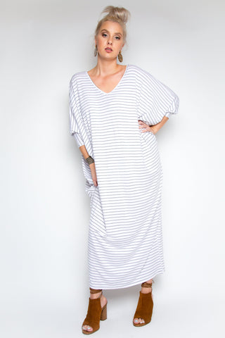 Long Sleeve Maxi Miracle Dress in White/Black Pinstripe