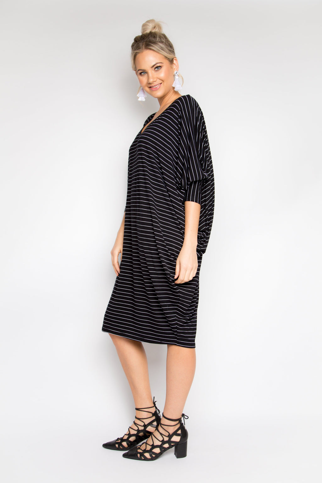 Curve Long Sleeve Miracle Dress in Black Pinstripe