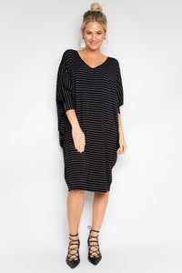 Long Sleeve Miracle Dress in Black Pinstripe