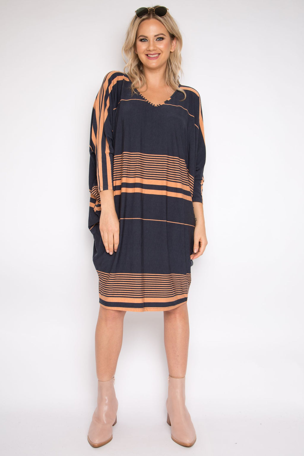 Long Sleeve Miracle Dress in Cinnamon Stripe