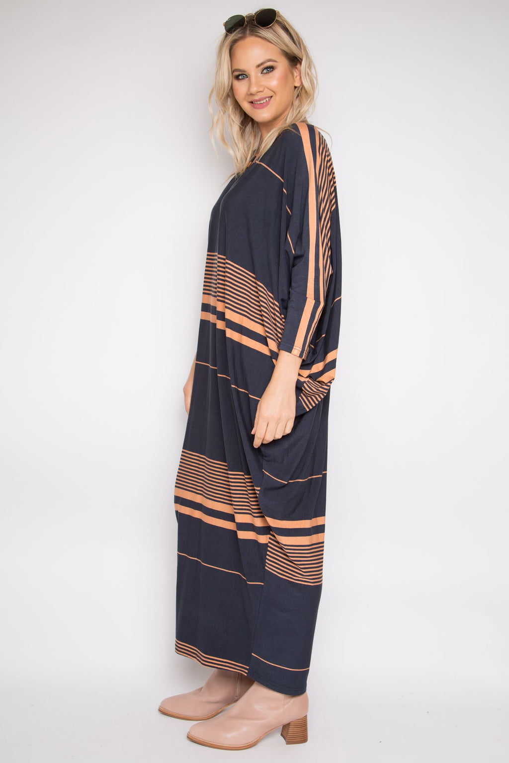 Long Sleeve Maxi Miracle Dress in Cinnamon Stripe