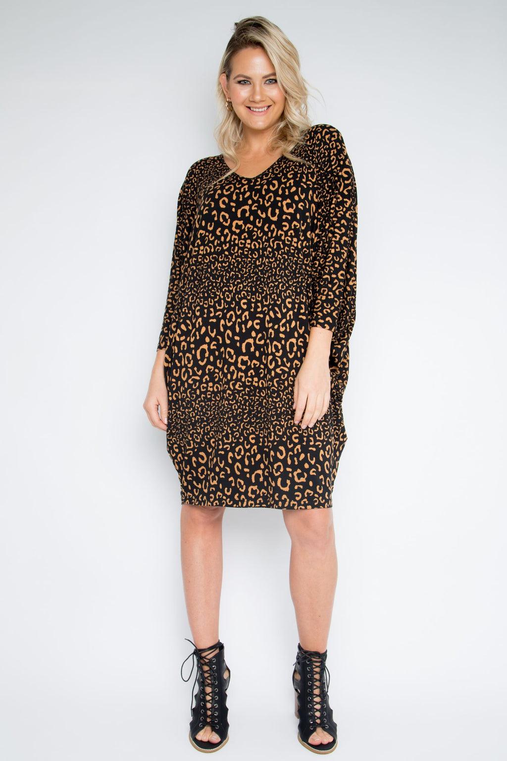 Long Sleeve Miracle Dress in Coffee Leopard