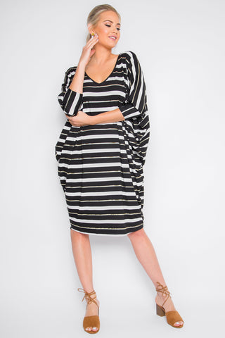 Long Sleeve Miracle Dress in Golden Sage Stripe