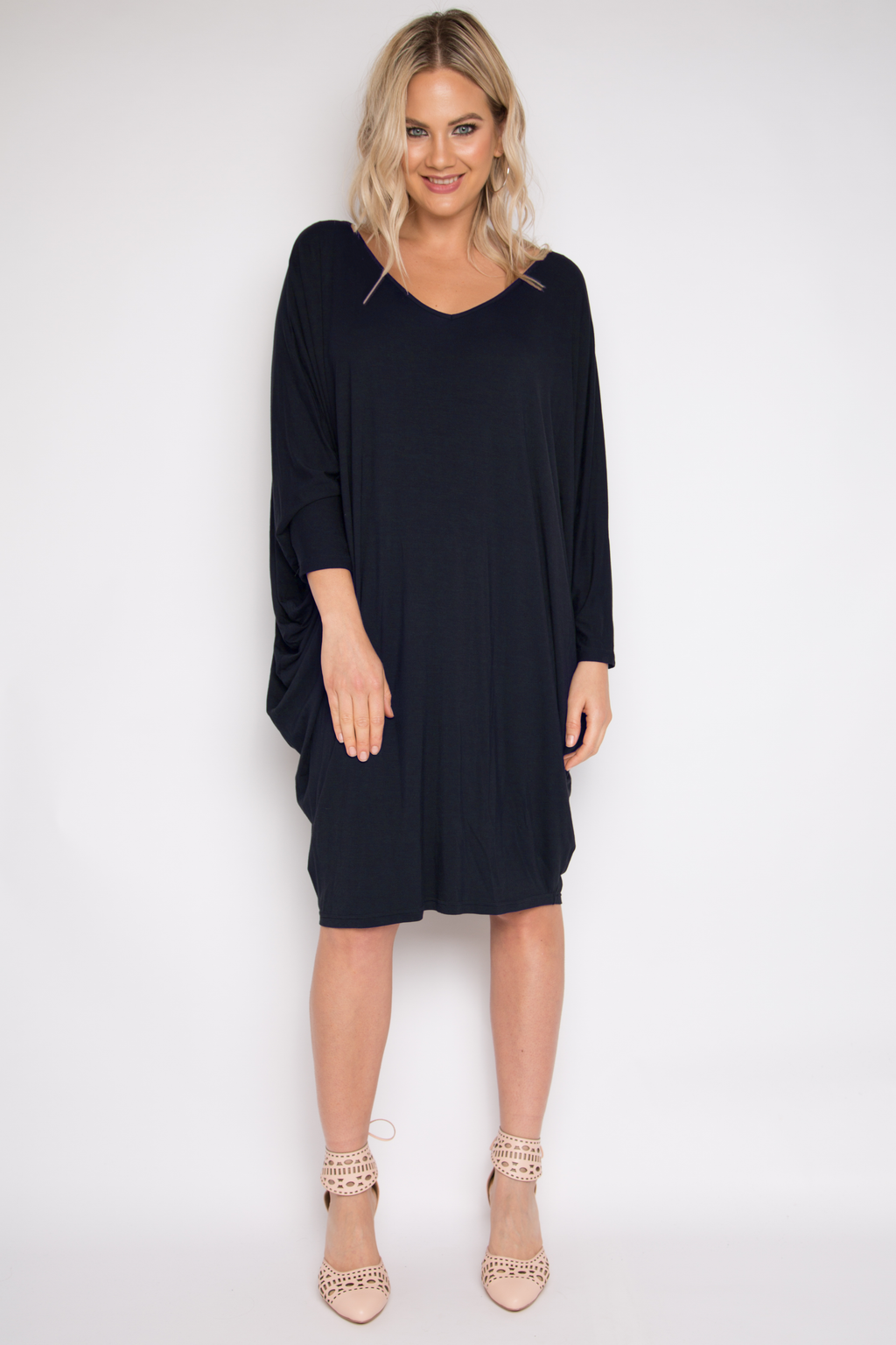 Bamboo Long Sleeve Miracle Dress in Midnight