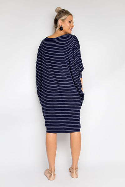 Long Sleeve Miracle Dress in Navy Pinstripe