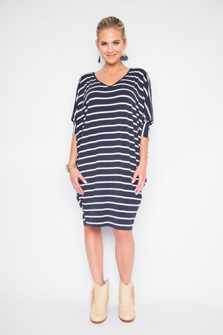 Long Sleeve Miracle Dress in Navy & White Stripe