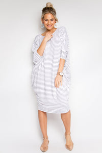 Long Sleeve Miracle Dress in White/Black Pinstripe