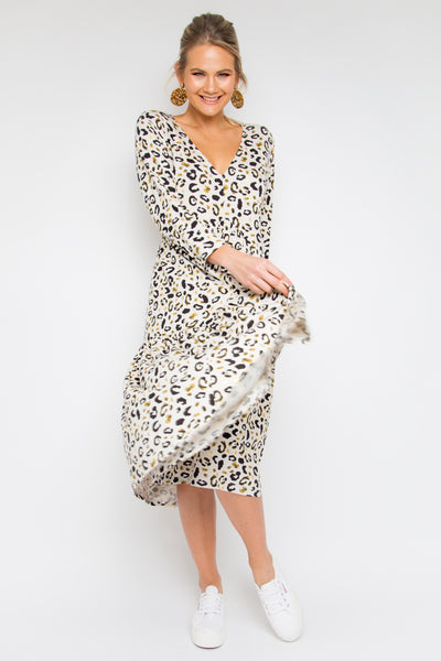 Long Sleeve Jersey Midi Dress in Gold Desert Leopard